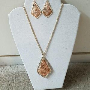 Kendra Scott Rosegold Aiden Necklace/Addie Earring